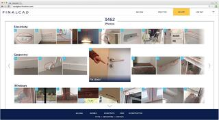 Dashboard screenshot with photos of defect during a field visit on a construction site