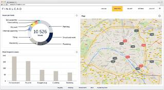 Dashboard screenshot with statistics and a map for construction