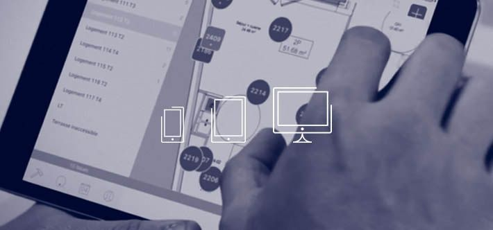 iPad with a digital blueprint for site managers