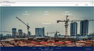 Webpage screenshot representing a construction site with cranes