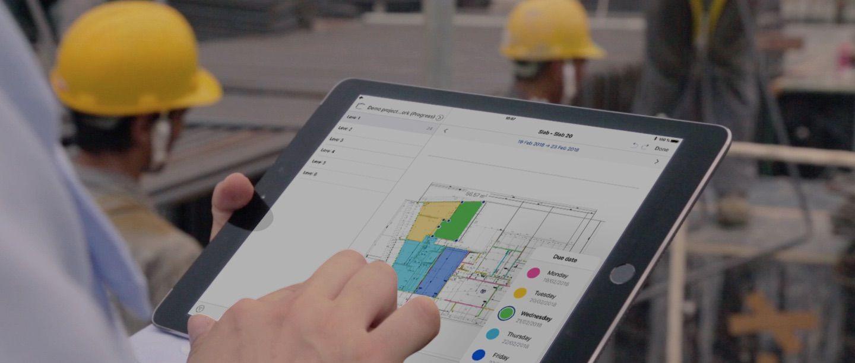 Structural works site progress on tablet